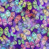 Seamless Watercolor Butterfly Textile Paper. A seamless watercolour paper design with colorful butterflies Royalty Free Stock Photos