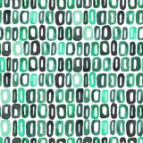 Seamless watercolour retro pattern 60s green on white. For craft, textile, wrapping, decotate Royalty Free Stock Image