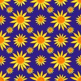 Seamless watercolour sunflowers pattern on blue background. Vector illustration. Royalty Free Stock Images