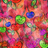 Seamless Watercolour Cherry Background. A seamless watercolour textile design with happy cartoon cherries Royalty Free Stock Images