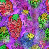 Seamless Watercolour Grape Background Painting. A seamless watercolour textile design with happy cartoon fruit Royalty Free Stock Photography
