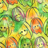 Watercolour Star Fruit Textile Painting. A seamless watercolour textile design with happy cartoon fruit Stock Photography