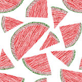 Seamless watermelon texture. Harvest ornament. Endless fruit background. Stock Photography