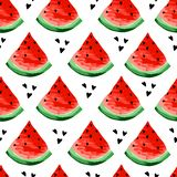 Seamless watermelons pattern. Slices of watermelon, berry background. Painted fruit, graphic art, cartoon. stock illustration