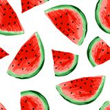 Seamless watermelons pattern. Slices of watermelon, berry background. Painted fruit, graphic art, cartoon. stock photo