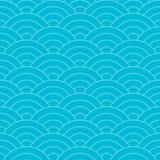 seamless wave f?r modell Upprepa den blåa och vita linjen textur för konstvattenkurva royaltyfri illustrationer