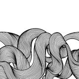 Seamless wave hair line pattern. Monochrome stripes black and white texture Vector Illustration