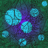Seamless wave hand-drawn pattern with bright cyan and violet spots Stock Photo