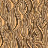 Seamless wave hand-drawn pattern, brown waves background Stock Photography