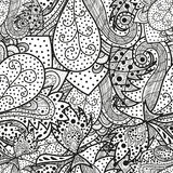 Seamless wave hand-drawn pattern, can be used for wallpaper, pattern fills, ornate web page background Royalty Free Stock Images