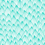 Seamless wave hand-drawn pattern, two color waves background. Used for wallpaper, pattern fills, web page background Stock Photo