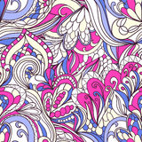 Seamless wave hand-drawn pattern, waves background Royalty Free Stock Photography