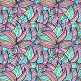 Seamless wave hand-drawn pattern, waves background Stock Photos