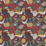 Seamless wave hand-drawn pattern, waves background Stock Image