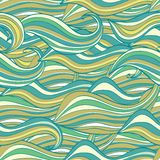 Seamless wave hand-drawn pattern,  waves background Stock Images