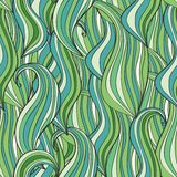 Seamless wave hand-drawn pattern, waves background Royalty Free Stock Image