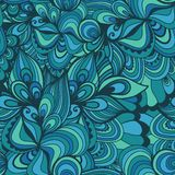 Seamless wave hand-drawn pattern, waves background (seamlessly t Royalty Free Stock Photo