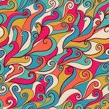 Seamless wave hand-drawn pattern, waves background (seamlessly t Stock Image