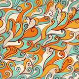Seamless wave hand-drawn pattern, waves background (seamlessly t Royalty Free Stock Photography