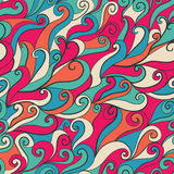 Seamless wave hand-drawn pattern, waves background (seamlessly t Stock Photography