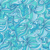 Seamless wave hand-drawn pattern, waves background seamlessly tiling. Stock Images