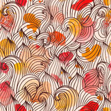 Seamless wave hand-drawn pattern, waves background. Watercolor Royalty Free Stock Photos