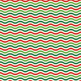 Seamless Wave Pattern in Christmas Colors  on White. Background Royalty Free Stock Image