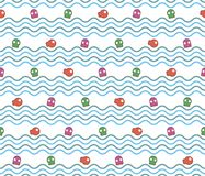 Seamless wave pattern with fish and octopus. Stock Photos