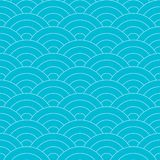 Seamless wave pattern. Repeating blue and white line art water curve texture royalty free illustration