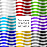 Seamless wave patterns of different colors. Stock Photos