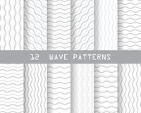 Seamless wave patterns. 12 soft gray wave seamless patterns, Pattern Swatches, vector, Endless texture can be used for wallpaper, pattern fills, web page Stock Images