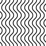 Seamless Wave and Stripe Pattern. Black and White Regular Texture Stock Image