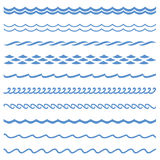 Seamless Wave. Vector blue wave icons set on white background. Water waves Stock Image