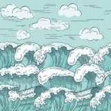 seamless waves för havmodell Hand dragen vektorillustrationbakgrund Arkivfoto