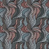 Seamless waves hand-drawn pattern Stock Image