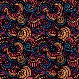 Seamless waves hand-drawn pattern Stock Photo