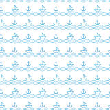 Seamless waves pattern with anchors and sailboats Royalty Free Stock Image