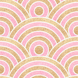 Seamless wavy background. Gold and pink stripes. Vector illustration Royalty Free Stock Images