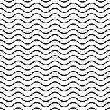 Seamless wavy pattern. Black thin lines on white background. Nautical, naval and water theme. Vector illustration Stock Image