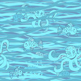 Seamless wavy pattern. Vector sea abstract background with marine life. Stock Images