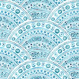 Seamless wavy watercolor pattern. Geometrical ornament hand-draw. N. Blue-white background. Vector illustration Royalty Free Illustration
