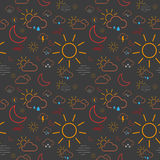 Seamless Weather Pattern. Seamless pattern tile made of  weather icons Royalty Free Stock Photo