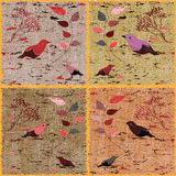 Seamless weave,checkered colorful pattern with floral elements and birds Royalty Free Stock Photo