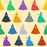 Seamless wedding background. Colorful silhouettes of a princess on a gentle cream background. Royalty Free Stock Photo