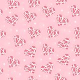 Seamless wedding background of pink color with hearts in white stripes. For Valentine`s Day holiday, pattern texture with sparkling stars and hearts for the day Royalty Free Stock Images