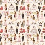 Seamless wedding pattern. Drawing Stock Image