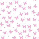 Seamless watercolor pink butterflies pattern. Vector illustration royalty free illustration