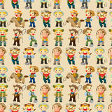 Seamless west cowboy pattern. Drawing Royalty Free Stock Photo