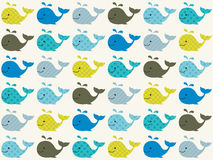 Seamless whales pattern. Seamless cute whales cartoon pattern Vector Illustration