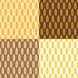 Seamless  wheat background patterns, vector. Collection of seamless repeating wheat background patterns, abstract food ornament, vector Stock Image